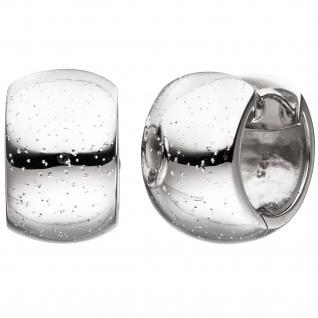 Creolen breit rund 925 Sterling Silber Ohrringe mit Glitzereffekt Silbercreolen