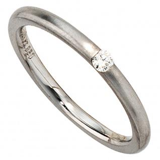 Damen Ring 950 Platin matt 1 Diamant Brillant 0, 06ct. Platinring