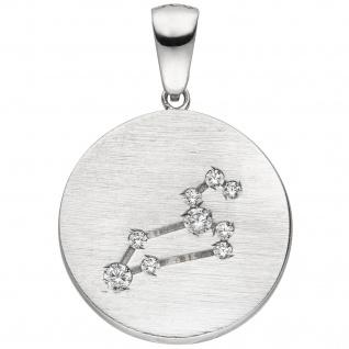 Anhänger Sternzeichen Löwe 925 Sterling Silber matt 9 Zirkonia Silberanhänge