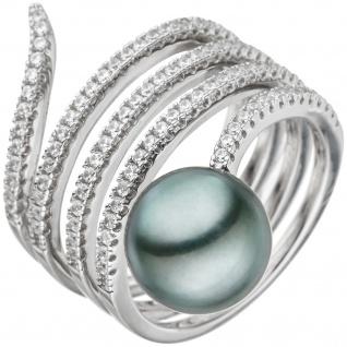 Damen Ring 925 Silber mit Zirkonia 1 Tahiti Perle Perlenring Schlangenring