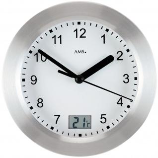 AMS 9223 Wanduhr Tischuhr Baduhr Badezimmeruhr Quarz silbern rund Thermometer