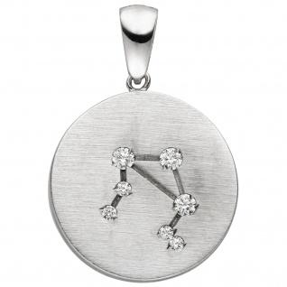 Anhänger Sternzeichen Waage 925 Sterling Silber matt 7 Zirkonia Silberanhäng