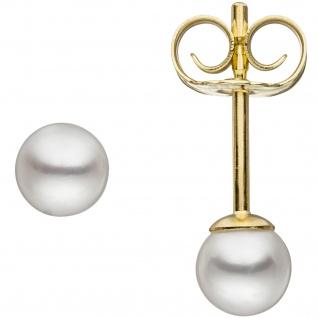 Ohrstecker 585 Gold Gelbgold 2 Süßwasser Perlen 4, 5 mm