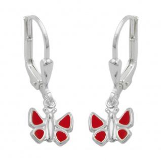 Ohrbrisur Ohrhänger Ohrringe 22x7mm Schmetterling rot lackiert Silber 925