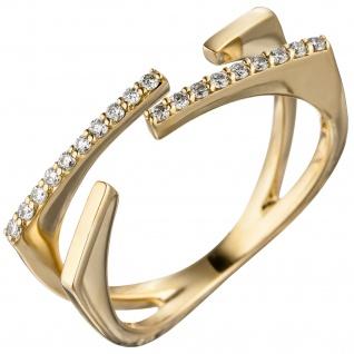 Damen Ring offen 585 Gold Gelbgold 19 Diamanten Brillanten 0, 15ct. Goldring