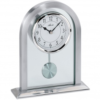 Atlanta 3030 Tischuhr Quarz analog silbern mit Pendel und Glas Pendeluhr