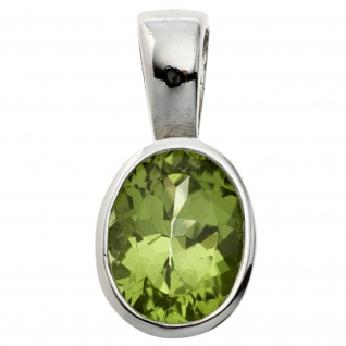 Anhänger oval 925 Sterling Silber rhodiniert 1 Peridot grün