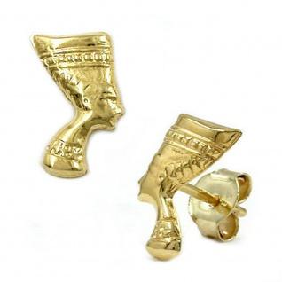 Ohrstecker Ohrring 10x6mm Nofretete glänzend 9Kt GOLD