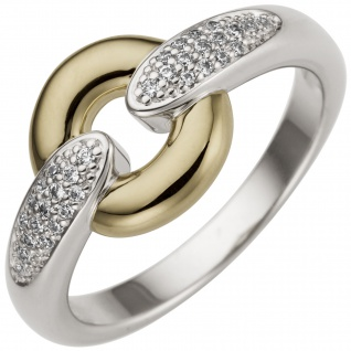 Damen Ring 585 Gold Weißgold Gelbgold bicolor 32 Diamanten Brillanten