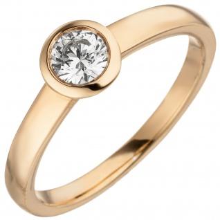 Damen Ring 585 Gold Rotgold 1 Diamant Brillant 0, 25 ct. Diamantring Solitär
