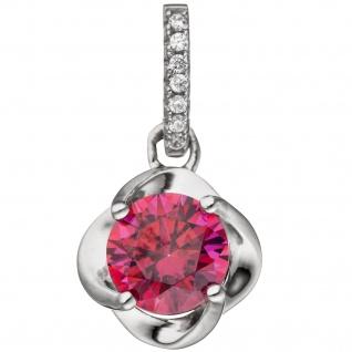 Anhänger 925 Sterling Silber 7 Zirkonia pink Silberanhänger