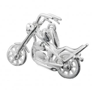 Anhänger 25x18mm Chopper Motorrad Silber 925