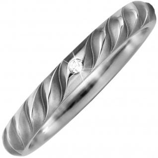 Partner Ring aus Titan teil matt 1 Diamant Brillant Partnerring Titanring
