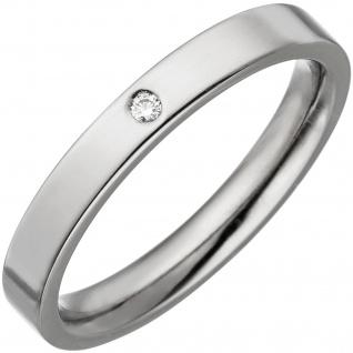 Partner Ring schmal aus Titan 1 Diamant Brillant Partnerring Titanring
