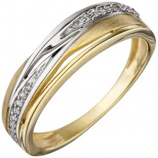 Damen Ring 333 Gold Gelbgold bicolor teil matt mit Zirkonia Goldring