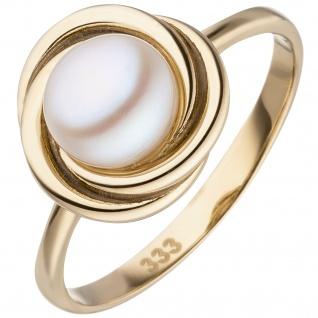 Damen Ring 333 Gold Gelbgold 1 Süßwasser Perle Perlenring