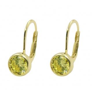 Ohrbrisur Ohrring 15x7mm Zirkonia grün 9Kt GOLD