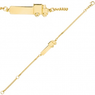 Schildband Lastwagen LKW 333 Gold Gelbgold 14 cm Gravur ID Armband