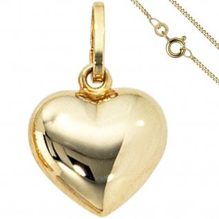 Anhänger Kleines Herz Herzchen 333 Gold mit Kette 50 cm Goldherz