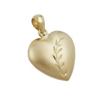 Anhänger 14x14mm Herz mit Schliff matt-glänzend 9Kt GOLD