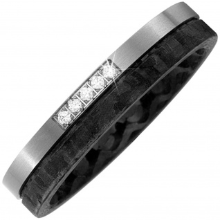 Partner Ring Carbon mit Titan 5 Diamanten Brillanten Partnerring bicolor