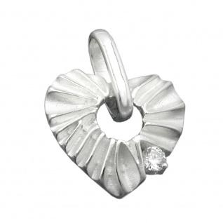 Anhänger 17mm Herz mit Zirkonia matt-glänzend Silber 925