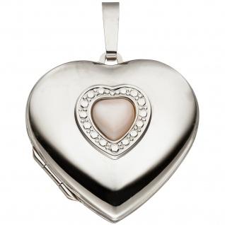 Medaillon Herz 925 Sterling Silber Perlmutt Einlage Anhänger zum Öffnen