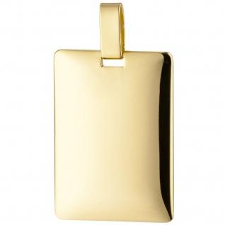 Anhänger Gravur Gravurplatte eckig 585 Gold Gelbgold massiv Goldanhänger