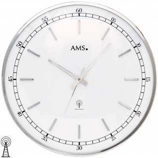 AMS 5608 Wanduhr Funk Funkwanduhr analog silbern rund