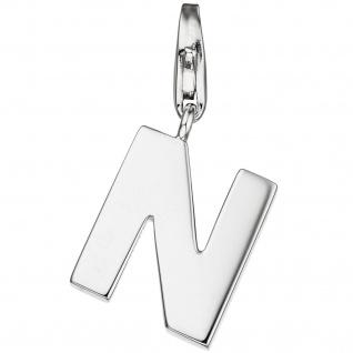 Einhänger Charm Buchstabe N 925 Sterling Silber Anhänger für Bettelarmband