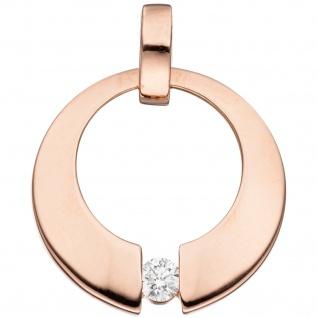 Anhänger rund 585 Gold Rotgold 1 Diamant Brillant 0, 08ct. Rotgoldanhänger