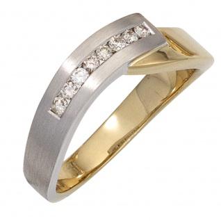 Damen Ring 585 Gold Gelbgold Weißgold bicolor teilmatt 8 Diamanten Brillanten - Vorschau