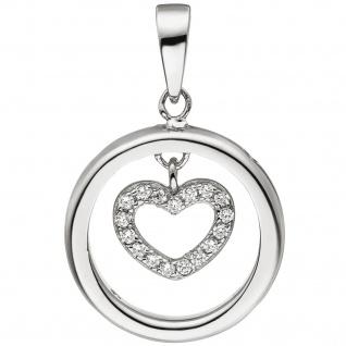 Anhänger Herz Herzen 925 Sterling Silber 21 Zirkonia Silberanhänger Silberherz