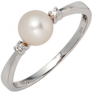 Damen Ring 585 Gold Weißgold 1 Süßwasser Perle 2 Diamanten Brillanten Perlenring