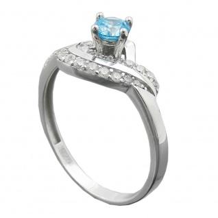 Ring 10mm Zirkonias aqua und weiß glänzend rhodiniert Silber 925 Ringgröße 57