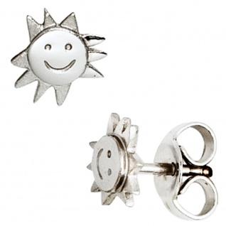 Kinder Ohrstecker Sonne 925 Sterling Silber teil matt Ohrringe Kinderohrringe