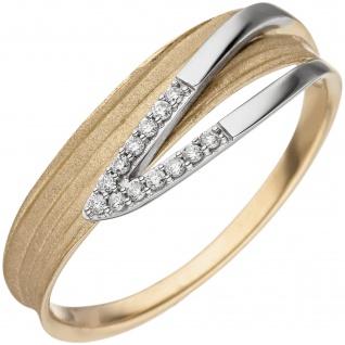 Damen Ring 585 Gelbgold Weißgold bicolor matt 13 Diamanten Brillanten