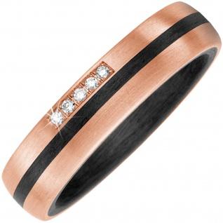 Partner Ring Carbon mit 585 Gold Rotgold matt 5 Diamanten Brillanten Pertnerring - Vorschau