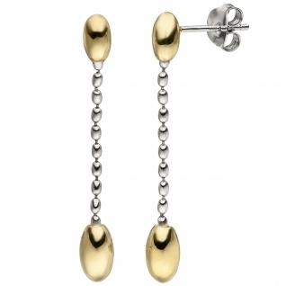 Ohrhänger 925 Silber bicolor vergoldet Ohrringe Ohrstecker