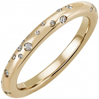 Damen Ring 585 Gold Gelbgold 34 Diamanten Brillanten 0, 21ct. Diamantring