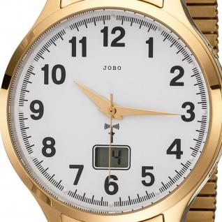 JOBO Herren Armbanduhr Funk Funkuhr Edelstahl gold vergoldet Flexband Datum - Vorschau 2
