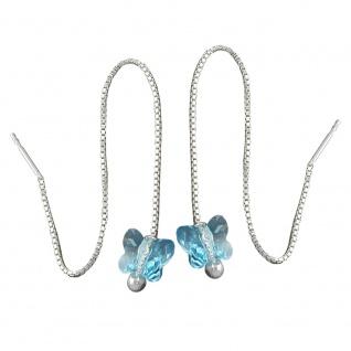 Durchzieher 115x8mm Schmetterling Glasstein hellblau Silber 925