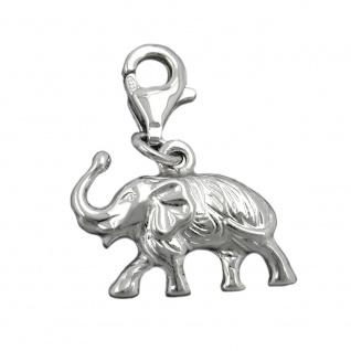Anhänger 12x16mm Charm Elefant rhodiniert Silber 925