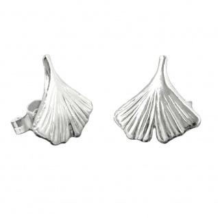 Stecker 12mm Ginkgoblatt glänzend Silber 925