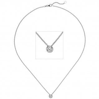 Collier Kette mit Anhänger 585 Gold Weißgold 1 Diamant Brillant 0, 15 ct. 45 cm
