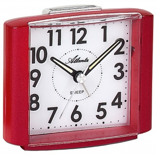 Atlanta 1959/1 Wecker Quarz analog rot leise ohne Ticken mit Licht Snooze