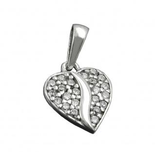 Anhänger 10mm Herz mit Zirkonias rhodiniert Silber 925