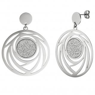 Ohrhänger rund aus Edelstahl mit Glitzer-Effekt Ohrringe Ohrstecker