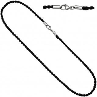 Halskette Kette Nylonkordel schwarz 45 cm Karabiner aus Edelstahl