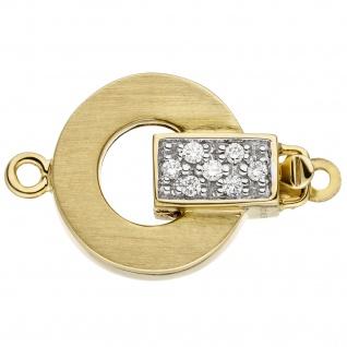 Kettenschließe Schließe 585 Gold Gelbgold mattiert 14 Diamanten Brillanten